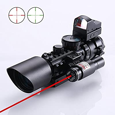 IRON JIA'S 3-10X42 Rifle/Airsoft Hunting Scope + Red & Green Dot Sight + Tactical Laser Available on 20/11mm Weaver/Picatinny Rail by IRON JIA'S