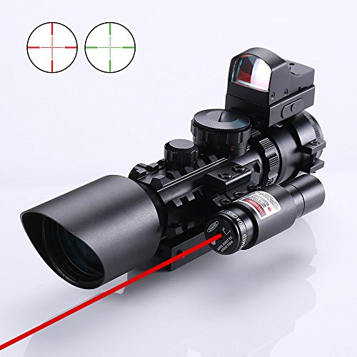 IRON JIA'S 3-10X42 Rifle/Airsoft Hunting Scope + Red & Green Dot Sight + Tactical Laser Available on 20/11mm Weaver/Picatinny Rail
