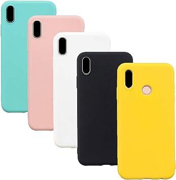 HereMore 5 x Funda para Xiaomi Redmi Note 5, Carcasa Protectora Suave Mate en Silicona Gel TPU Ultra Delgado Antigolpes Cubierta de Protección [Blanco,Negro,Rosa,Verde,Amarillo]: Amazon.es: Electrónica