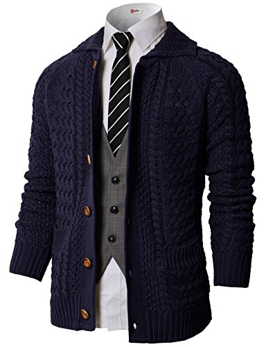 - H2H Men's Shawl Collar Ribbed Button-up Cardigan Sweater Navy US M/Asia M (KMOCAL0177)