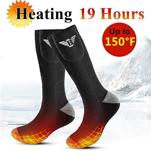 Electric Heated Socks for Men Women Rechargeable Heated Socks 3.7v 4000mAh Heating Socks for Motorcycle,Chronically Cold Feet,Winter Sport,Outdoor (Black-Heat Sole of Foot, L)