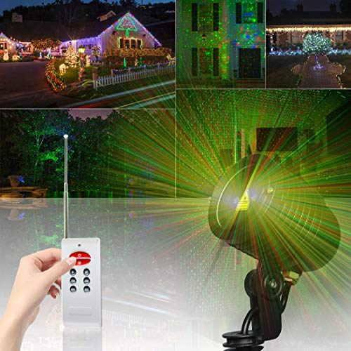 Projector Star Green Laser (GardenHOME Laser Lights, Waterproof Laser Projector Light Red and Green Star Projector, Indoor Outdoor Motion Laser Light for Christmas, New Year, Halloween, Birthday, Party, Wedding)