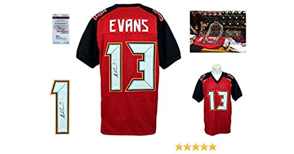 Autographed Pro Style Mike Evans Signed Custom Jersey Red JSA Witnessed