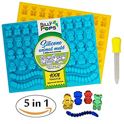 Gummy Bear Mold Bpa Free Silicone (Yellow, Blue) - Set of 2 for 86 Candies - 5 Different Types of Animals – Dropper Included – Candy Molds, Gummy Worm Mold, Chocolate Molds, Gelatin Molds, Ice Cube