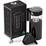 Cold Brew Coffee and Tea Maker – 47floz Kit Including Steel Scoop and Funnel by Coffee Gator – Black