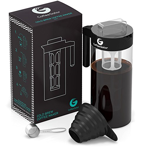 Coffee Gator Cold-Brew Coffee Maker Kit with Sweep up and Funnel