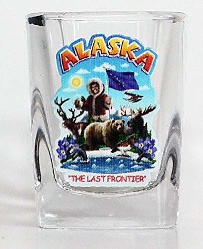 Alaska State Montage Square Shot Glass - Alaska Glass