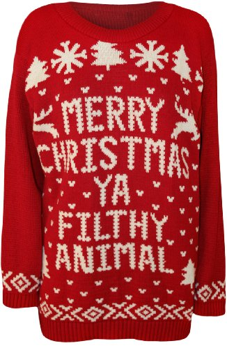 womens merry christmas ya filthy animal top ladies xmas knitted jumper red 8 10 amazoncouk clothing