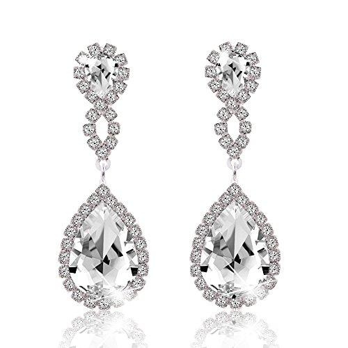 Miraculous Garden Womens Rhinestone Crystal Pierced Drop Earrings for Wedding Party-2 Tone Plated (Silver Plated White (Silver Tone Rhinestone Earrings)