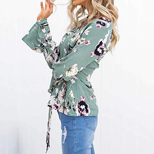 Longues pour Femme Femme Blanche vert Manches Chemisier Champion Chic Shirt Sweat dcontract Chemise Femmes ALIKEEY SEHn7wPqxq