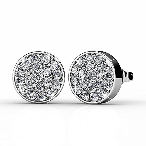 Cate & Chloe Nelly 18k White Gold Pave Stone Stud Earrings with Swarovski Crystal Cluster, Round Cut Swarovski Stones, Stud Earring Set, Trendy Jewelry for Women, Girls ()