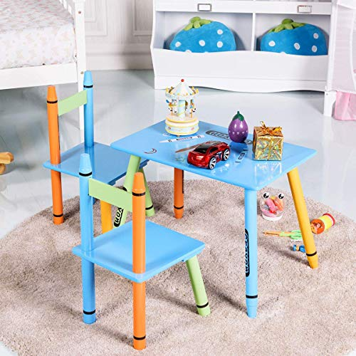 Desk Tables Childrens Furniture Kids (Costzon Kids Table and 2 Chairs Set, Table Furniture for Toddler, Activity Table Desk Sets (Crayon Themed))