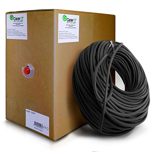 GearIT Cat5e Ethernet Cable Bulk 1000 Feet - Cat 5e 350Mhz 24AWG Full Copper Wire UTP Pull Box - In-Wall Rated (CM) Stranded Cat5e, Black by GearIT