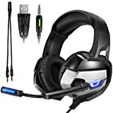 Gaming Headset, Onikuma K5 3.5mm Over-ear Stereo Gaming Headphones with Mic,Noise isolation, Bass Surround, Foldable Earphones for PS4/Xbox One/Laptop/Switch/Smartphone/CF (Black/Gray)