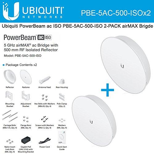 Ubiquiti PBE-5AC-500-ISO 2-PACK 5Ghz PowerBeam AC ISO 27dBi 500mm airMAX Bridge by Ubiquiti Networks