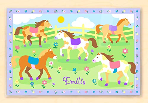 Olive Kids Patchwork Ponies Personalized Placemat (Personalized Placemats Christmas)