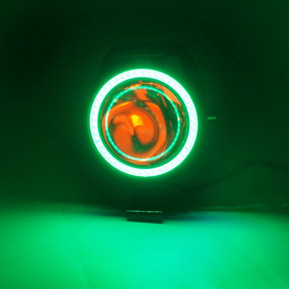 TABEN LED Cree U7/moto faro DRL nebbia con luci blu Angel Eyes anello di guida luci di marcia anteriore faretto strobo lampeggiante luce bianca e interruttore 1PCS, blu aureola