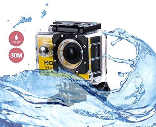 i-TecoSky 1080P Full HD Action Camera Sport Camera Sports Cam SJ4000 30M Waterproof Outdoor Mini Helmet Action Camera Diving Recorder Sports Action Camera Cam Camcorder DVR DV (yellow) ()