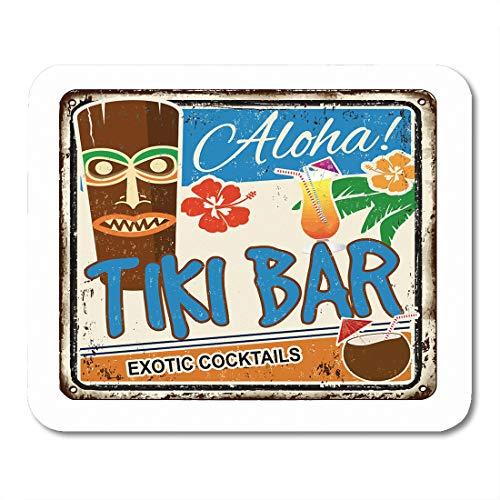 Hut Tiki Paradise - Emvency Mouse Pads Party Tiki Bar Vintage Rusty Metal Sign on Aloha Summer Aged Alcohol Mousepad 9.5