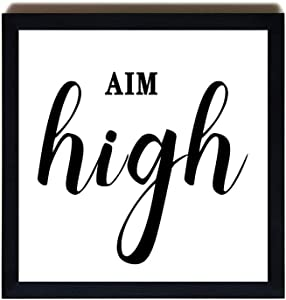 Wood Framed Signs Aim High Printable Graduation Gift Classroom Decor Downloadable Print Work Motivation Inspirational Poster Square Wall Art Minimalist Wooden Plaque Home Décor Christams Gifts 12x12
