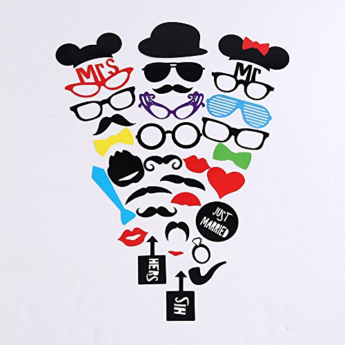 Easy 1 Minute Costumes ([2 Naissance] Photo Booth Props 31Pieces DIY Kit for Wedding Dress-up Accessories & Photo Shoots & Special Events Party Favors Party supplies Costumes with Mustache on a stick(1 PACK ONLY))