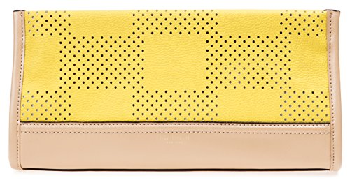 Isaac Mizrahi Womens Fashion Designer Handbags Kay Leather Check Perforated Clutch Canary Yellow Image