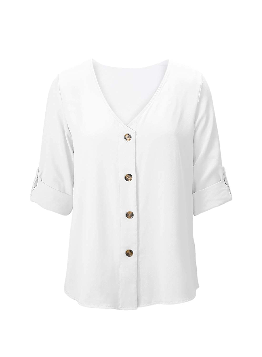 Aleumdr Women Collared Tunics Shirts Roll-up Sleeve Button Down Casual Blouse Top with Pockets S-XXL