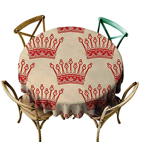 Coronation Natural - Homrkey Queen Natural Tablecloth Crowns Pattern in Red Vintage Design Coronation Imperial Kingdom Nobility Theme Machine Washable Orange and Tan (Round - 71