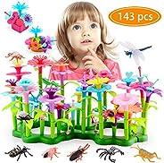 Atonofun Flower Garden Building Toys, STEM Toy Gardening Pretend Gift for Kids - 133pcs Educational Garden Bui