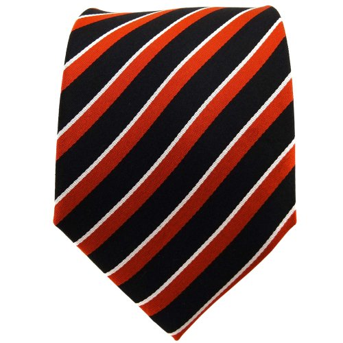 TigerTie cravate en soie orange dunkelorange noir argent rayé - cravate en soie