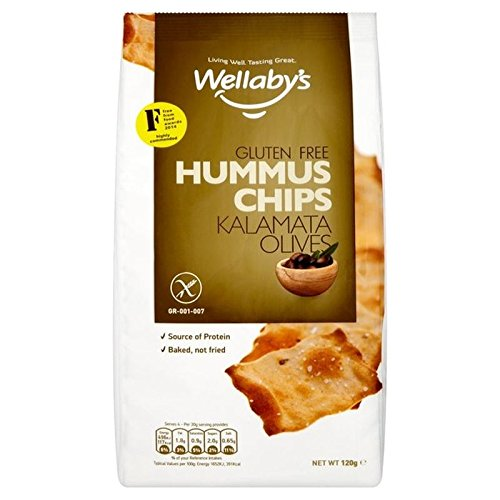 Wellaby's Gluten Free Kalamata Olives Hummus Chips 120g (Pack of 6)