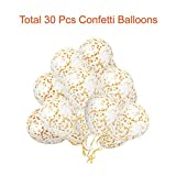 """Paxcoo 30 Pcs 12"""" Gold Confetti Balloons for Party Decoration (Confetti Has Been Put into The Balloons)"""