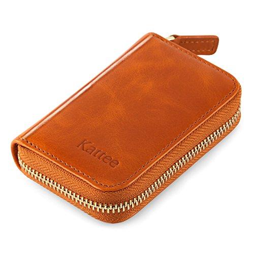Kattee Leather Zip Around Wallet, Women's RFID Credit Card Small Wallet Brown by Kattee (Image #4)