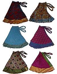 Two Layer Magic Wrap Around Skirt / Dress - Silk Sari Wrap, Assorted Color / Print 3 pack
