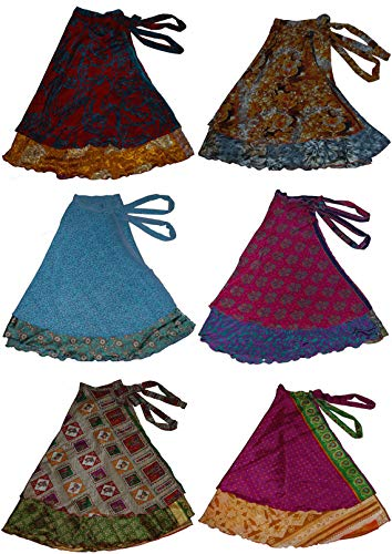- Wevez Two Layer Magic Wrap Around Skirt / Dress - Silk Sari Wrap, Assorted Color / Print 3 pack