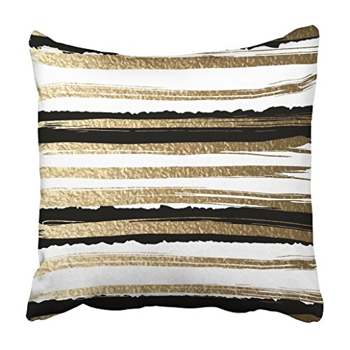 Pillowcase Gold Striped (Emvency Throw Pillow Cover Decorative Polyester Square 20x20 Inches White Futuristic Drawn By Brush Gold Paints And Black Ink Create Abstract Striped Hand Pillowcase Print Two Sides Sofa Home)