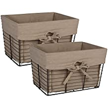 DII Home Traditions Vintage Metal Chicken Storage Basket with Removable Liner, Set of 2 Medium Sized, Desert Taupe Fabric with Grey Wire