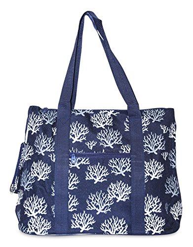 Ever Moda Chevron Tote Bag X-Large (Navy Blue Sea Coral)