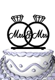 Meijiafei Mrs and Mrs Wedding Engagement Rings Cake Topper Lesbian Same Sex