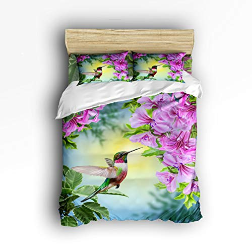 Prime Leader 4 Pcs Bedding Set Hummingbird and The Flowers Duvet Cover Set Ultra Soft and Easy Care Sheet Quilt Sets with Decorative Pillow Covers for Children Kids Adults King Size ()
