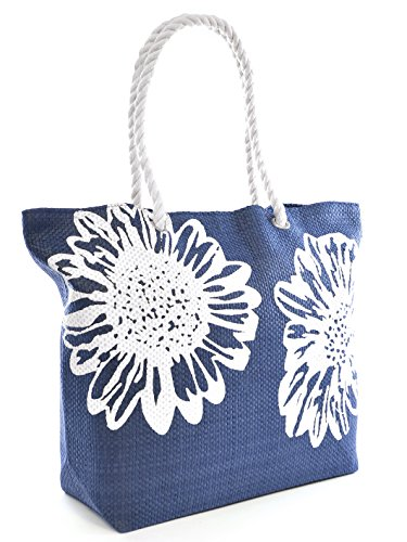 Beach Bag Tote Bags for Women Ladies Large Summer Shoulder Bag With Pocket Carrier Bag Flower (BLUE) (Floral Beach Bag)