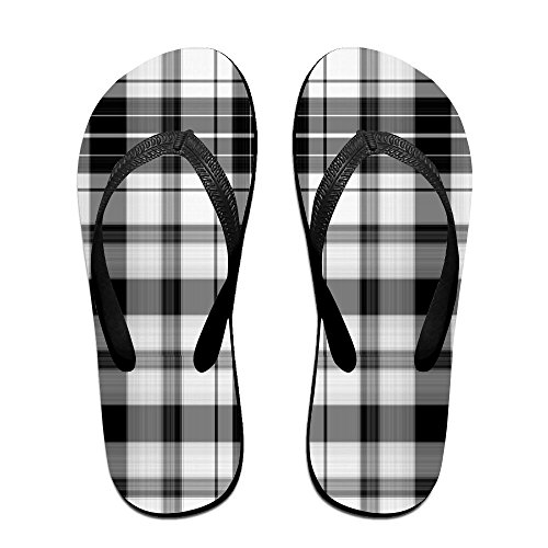 Unisex Retro Boerderij Tartan Geruite Zomer Riem Slippers Strand Slippers Platforms Sandaal Voor Mannen Vrouwen Zwart