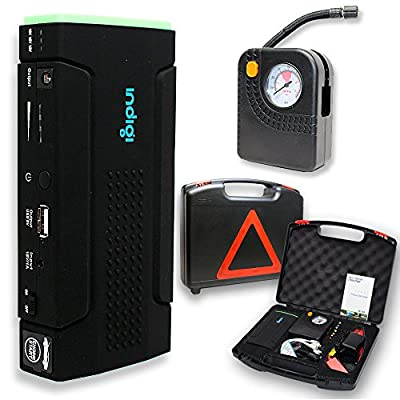 Indigi 12800mAh Heavy Duty Portable Power Bank + Jump Starter + Tire Compressor + Carrying Case - Black & Green