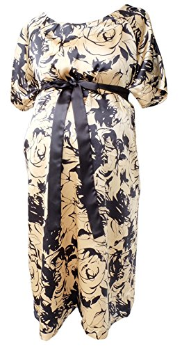 JANA JIRA Designer Maternity Hospital Patient Gown Satin Labor and delivery Nursing - S/M - Champagne Gold (Champagne Deliveries)