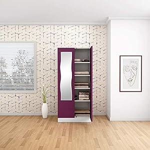 GODREJ INTERIO Slimline 2 Door Steel Almirah, Mirror in Purple,Textured Finish