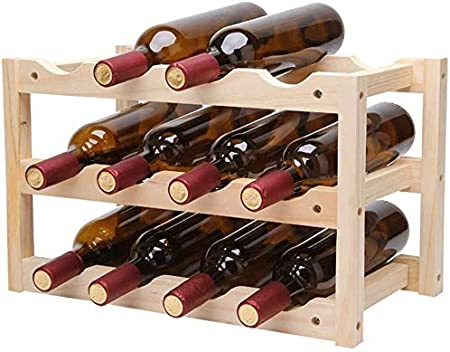 Estantería de vino Estante del vino de mesa Vino rack 12 Botella Vino Titular de almacenamiento Soporte con diseño con estilo perfecto for la decoración casera Bar Cava Cueva gabinete despensa estante