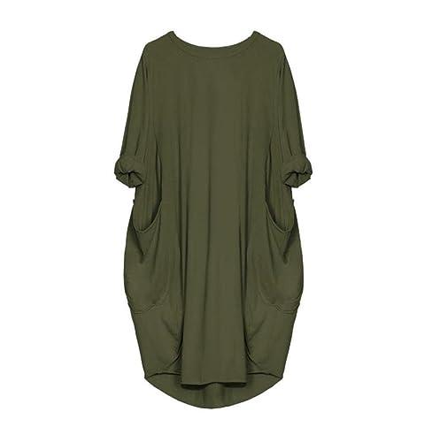Tomatoa Damen Kleider Loose-Pocket Kleider Damen T-Shirts Casual Lange  Oberteile Kleider Pyjamas Nachthemden  Amazon.de  Schuhe   Handtaschen 15dacbe381