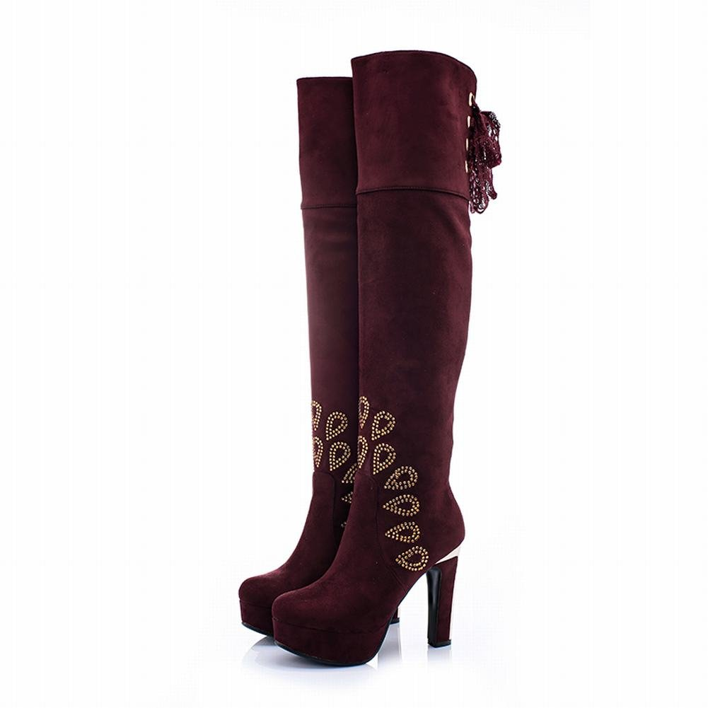 Charm Foot Womens Rhinestone Platform High Heel Over The Knee Boots