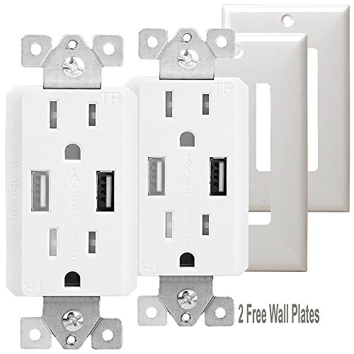 TOPGREENER TU2152A 2.1 AMP Dual USB Charger Outlet 15A Tamper Resistant Receptacle, 2 Free Wall Plates, 2 Pack, White - 15a Tamper Resistant Receptacle