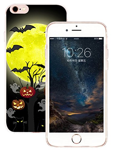Case for Phone 6S & Cover for Phone 6 & MUQR Flexible Gel Silicone Slim Drop Proof Protection Cover Compatible with iPhone 6 & 6S & Halloween Pumpkin Cat Bat Design -